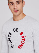 Pull col rond message bouclette
