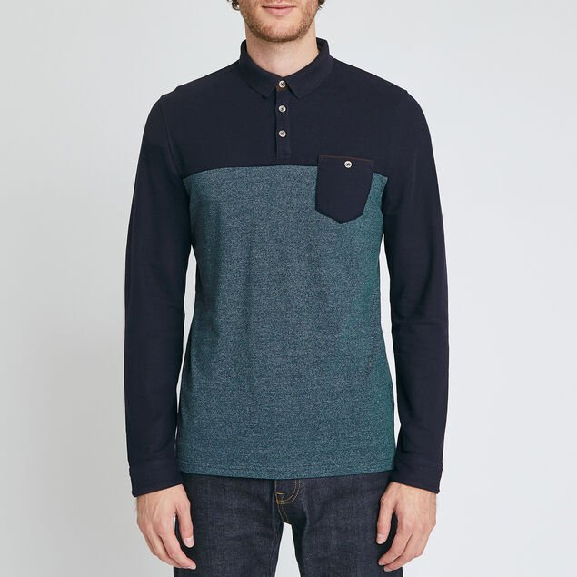 Polo manches longues colorblock