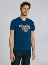 Tee shirt manches courtes col V imprimé WAVE LIFE