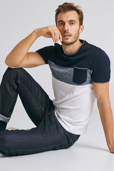 Gerecycled T-shirt, colorblock, met ingezette zak