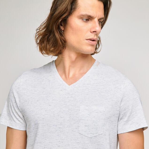 Tee-shirt col V sur matière fantaisie