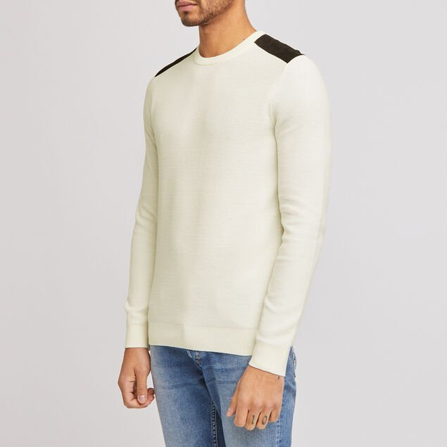 Pull col rond patch épaule