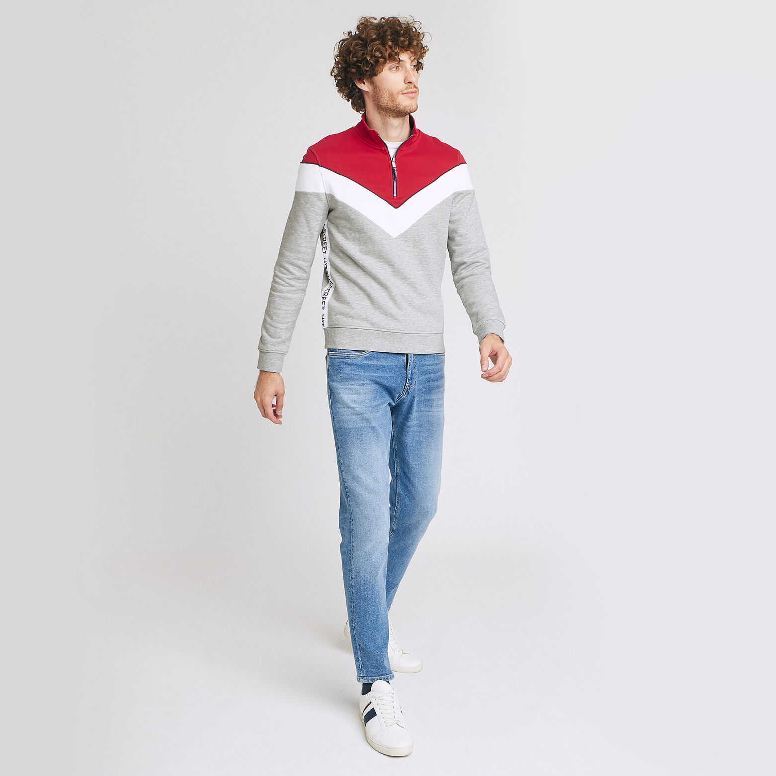 Sweat colorblock col zippé