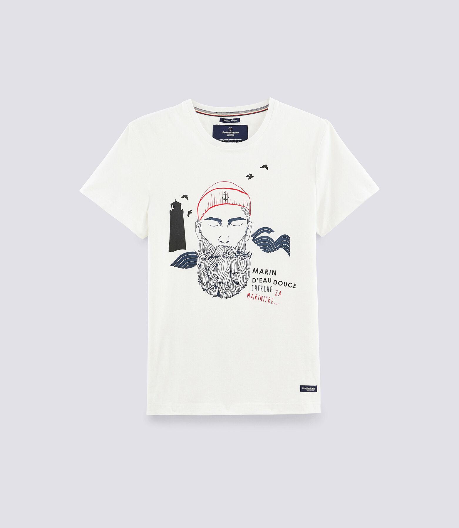"""Tee shirt imprimé """"marin cherche sa marinière"""" 100"""