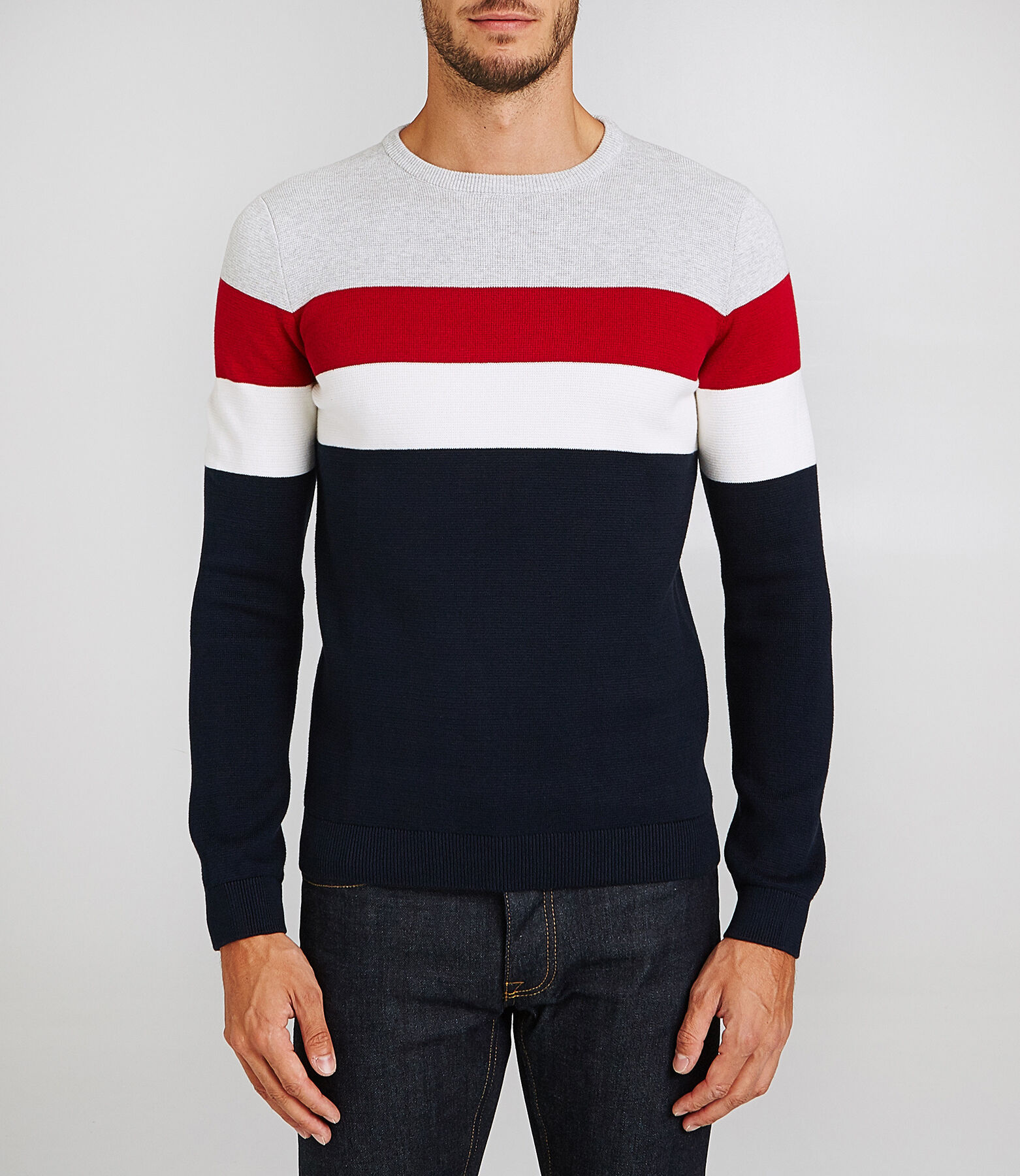 Pull col rond colorblock finition bord côte