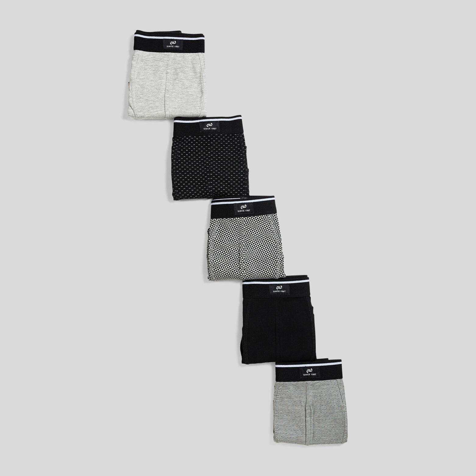Lot de 5 boxers imprimés coton issu de l'agricultu