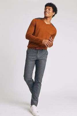 Chino noir slim à carreaux