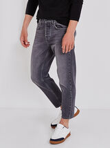 Tapered jeans, cropped grijs