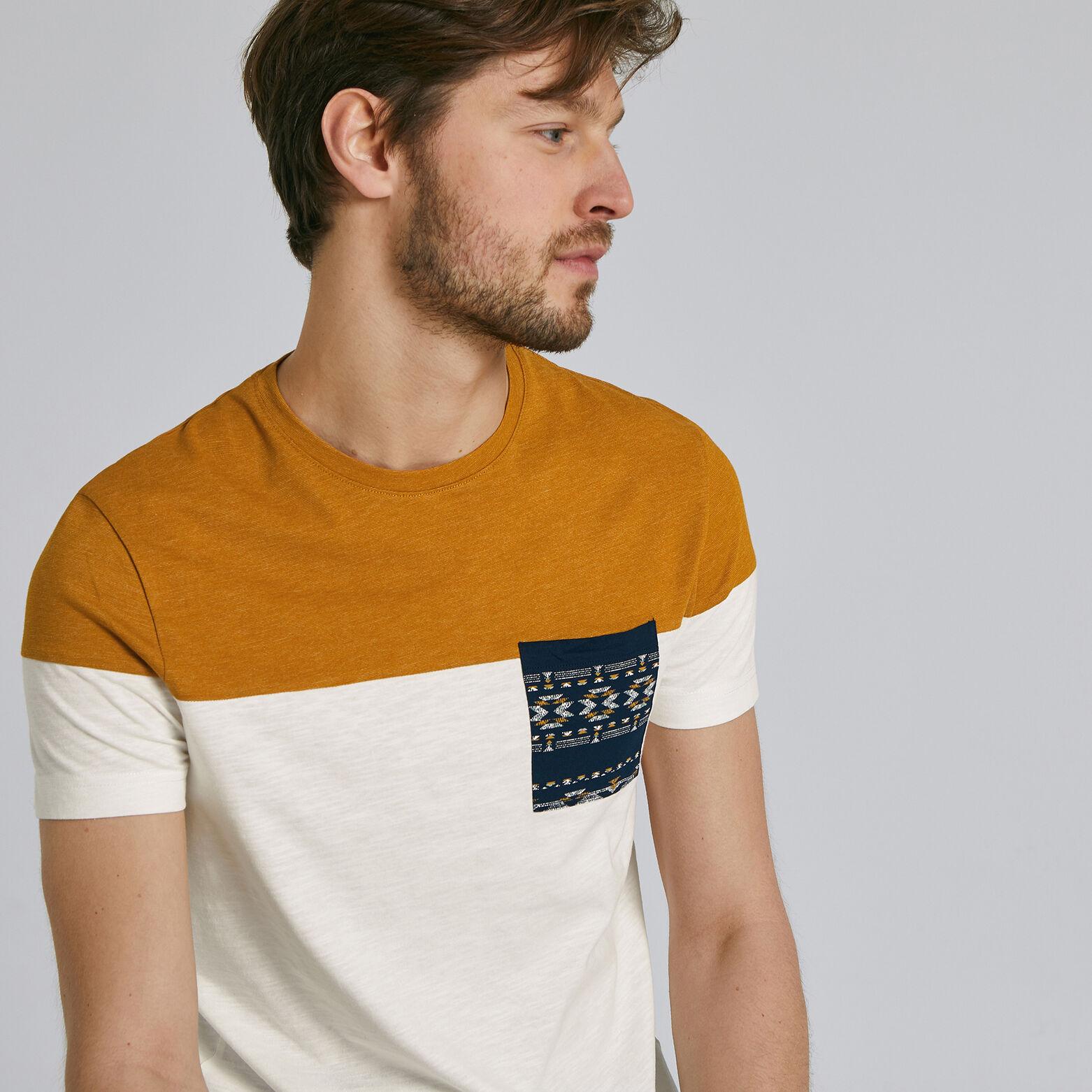 Tee shirt colorblock poche imprimée