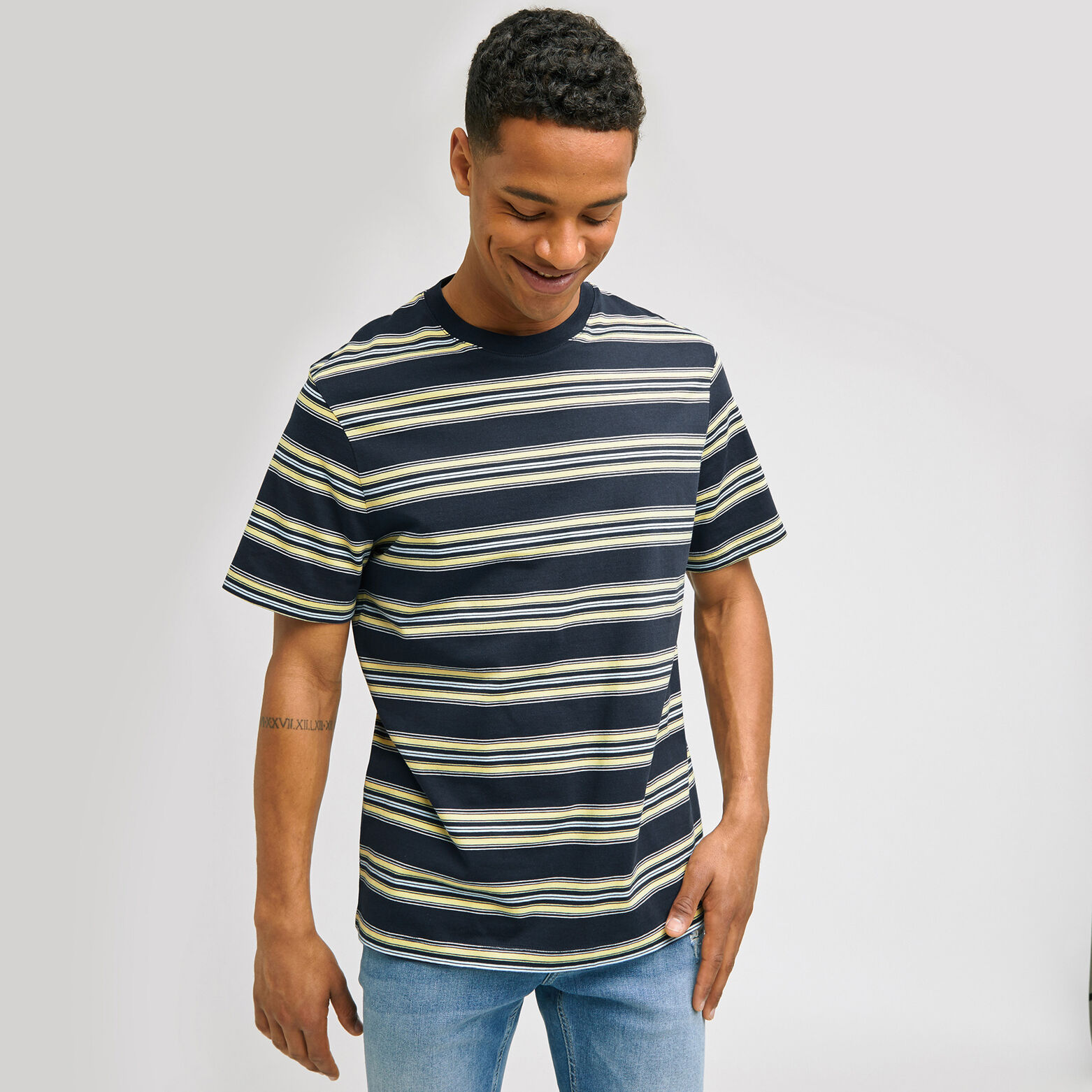 Tee-shirt rayé COOL FIT en coton issu de l'agri bi