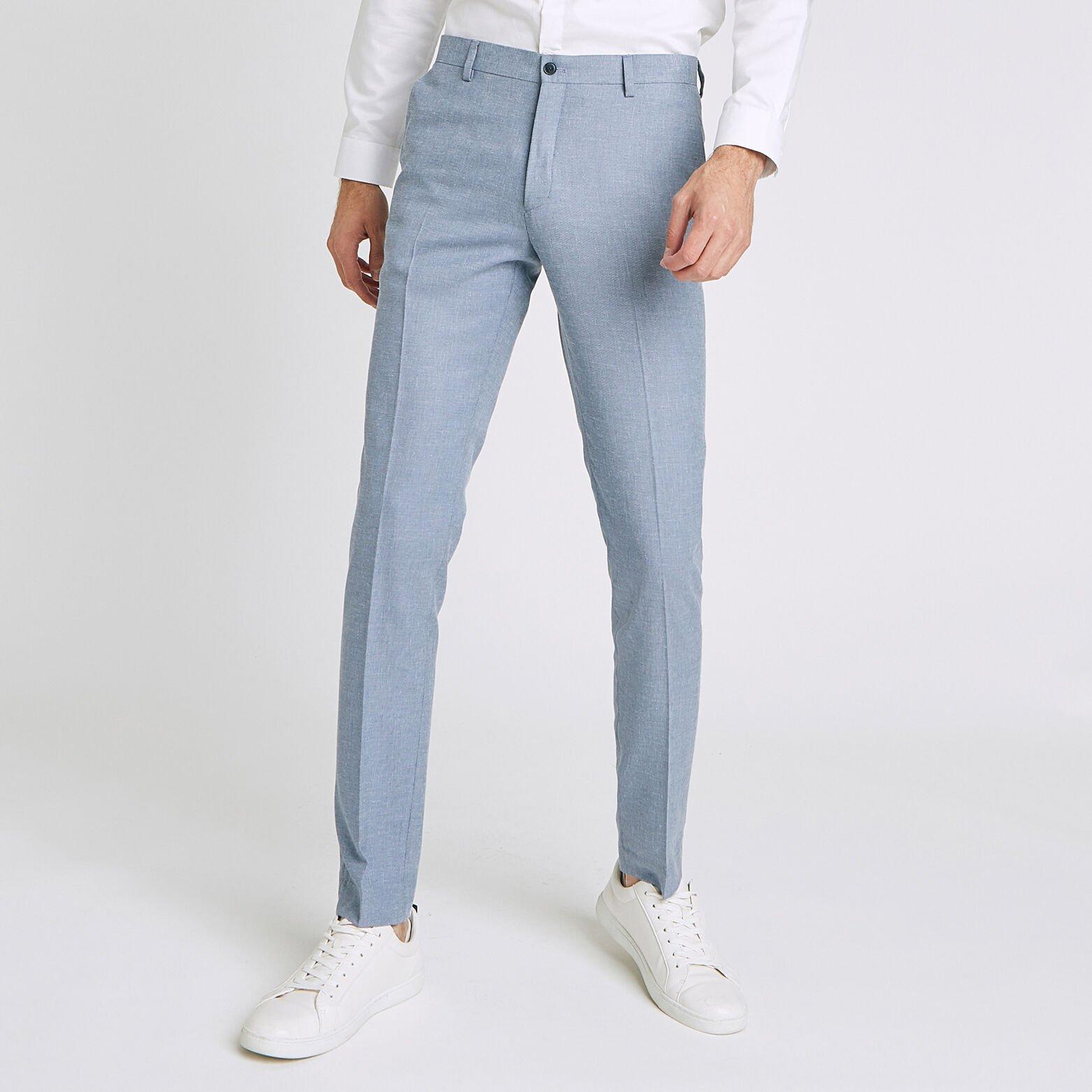 pantalon de costume slim avec lin