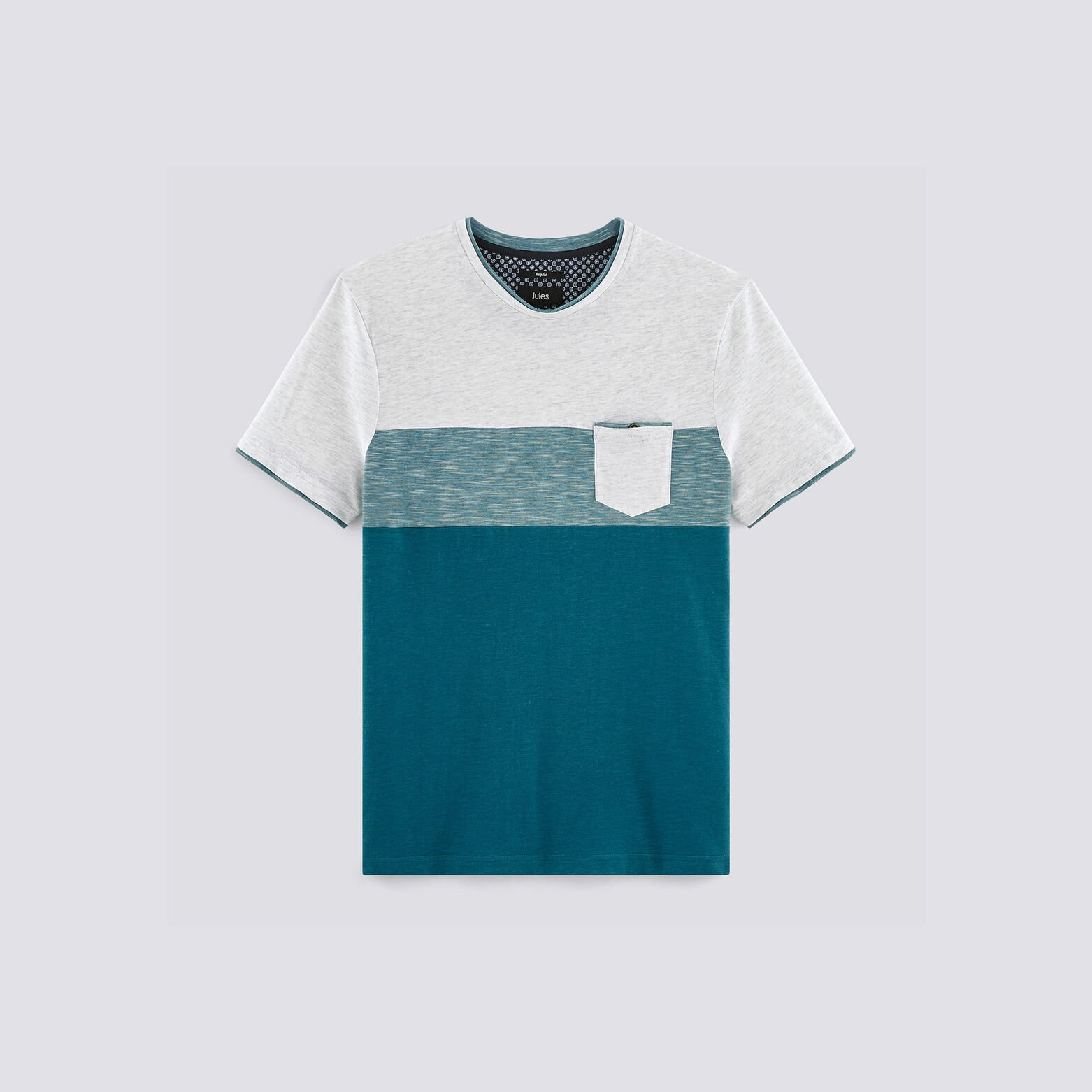 Tee shirt colorblock empiècement poche