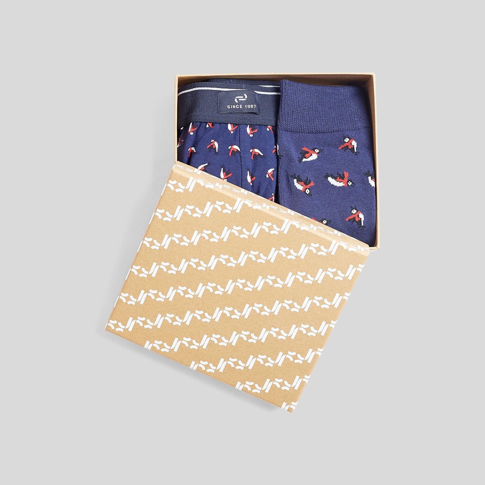 Coffret Noël lot boxer et chaussettes imprimé ping