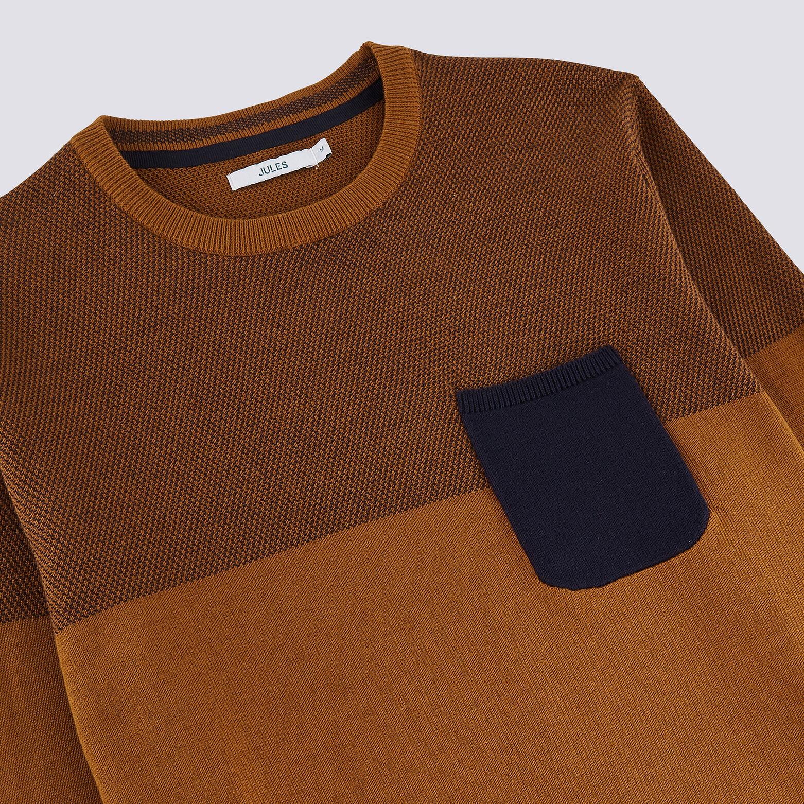 Pull colorblock avec poche poitrine