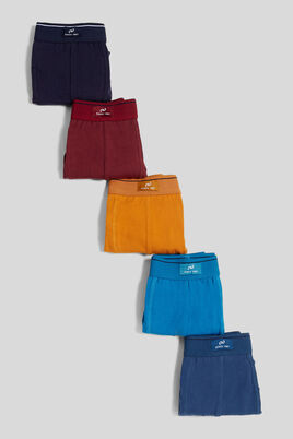 Lot de 5 boxers homme unis colorés