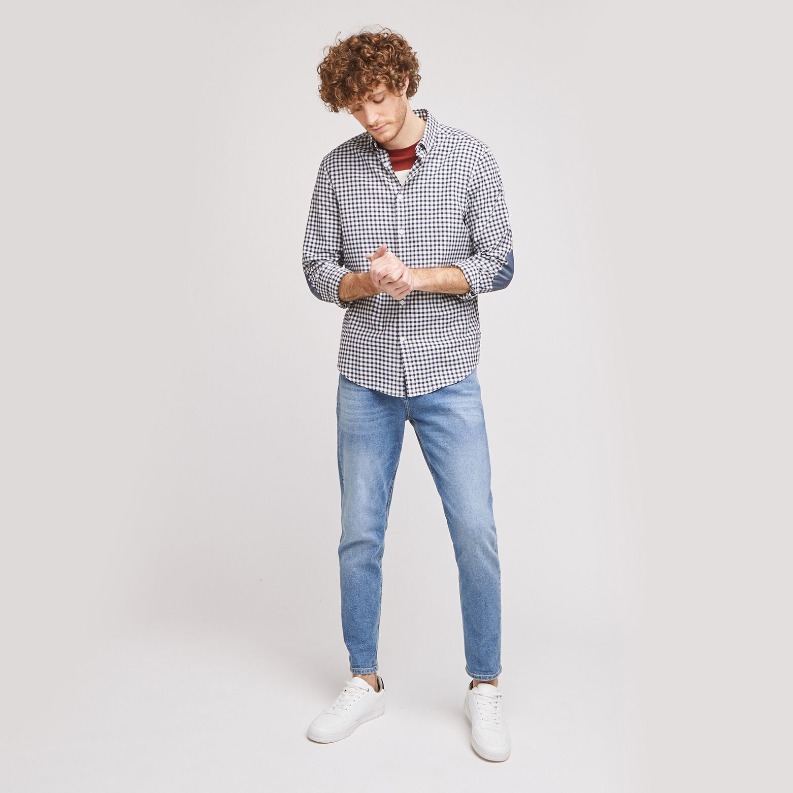 Chemise regular à carreaux avec coudières coton is