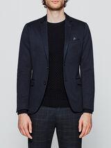Slim blazer in piqué-tricot