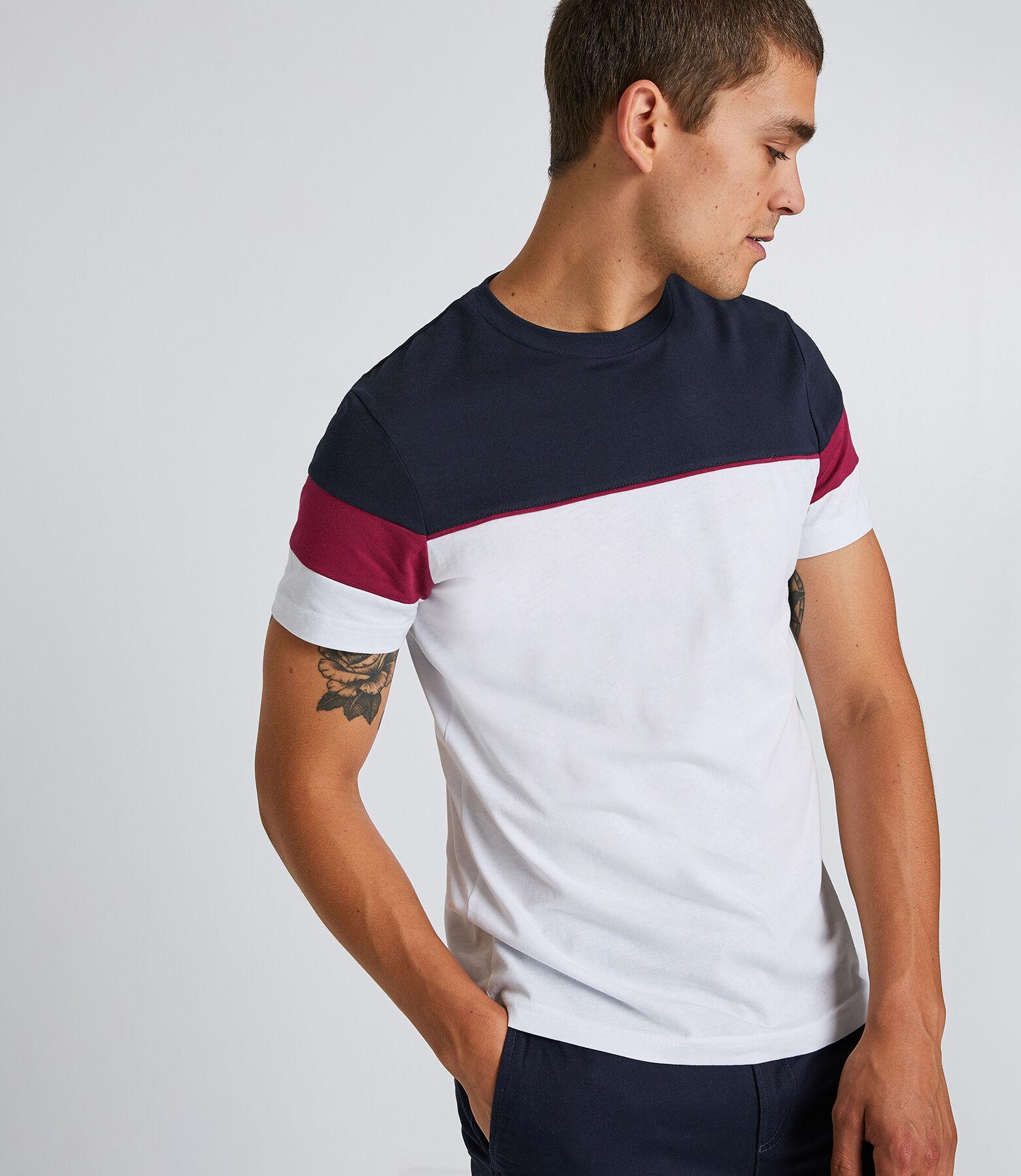 Tee shirt col rond à bandes couleurs
