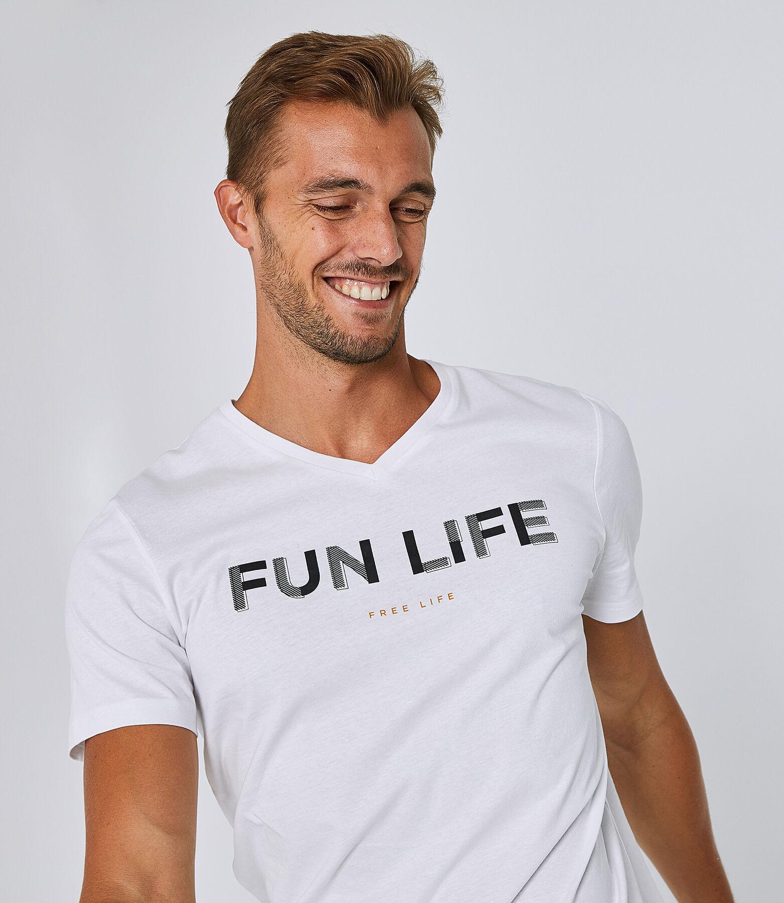 "Tee shirt col V slim imprimé ""Fun Life"""