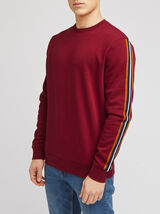 Sweat col rond bandes manches
