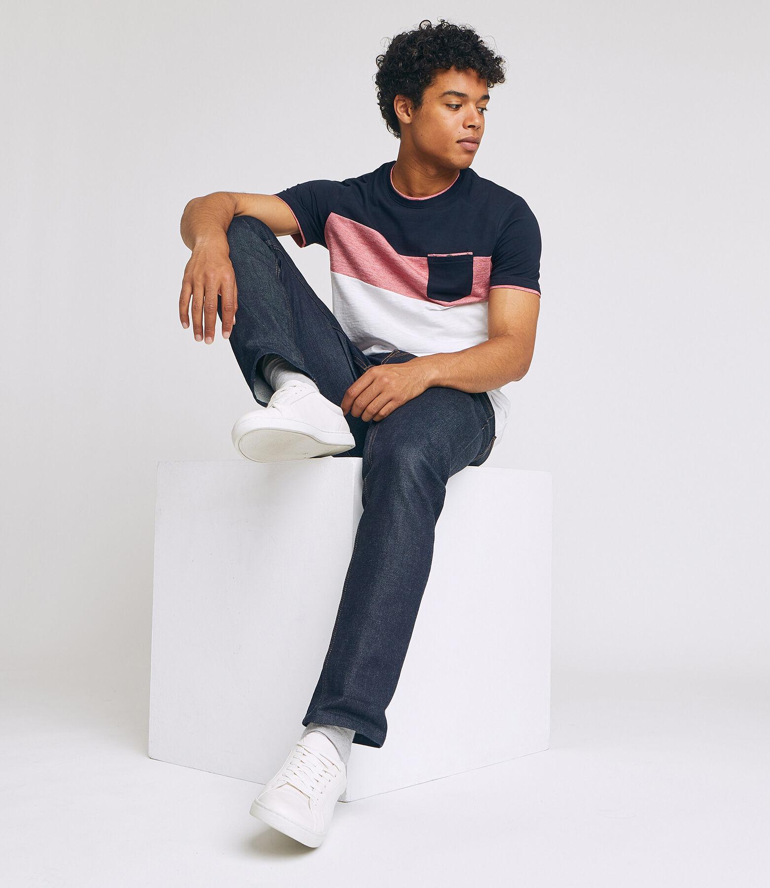 Tee shirt recyclé colorblock empiècement poche