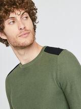 Pull coton col rond avec patch épaule