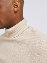 Pull col roulé maille fantaisie