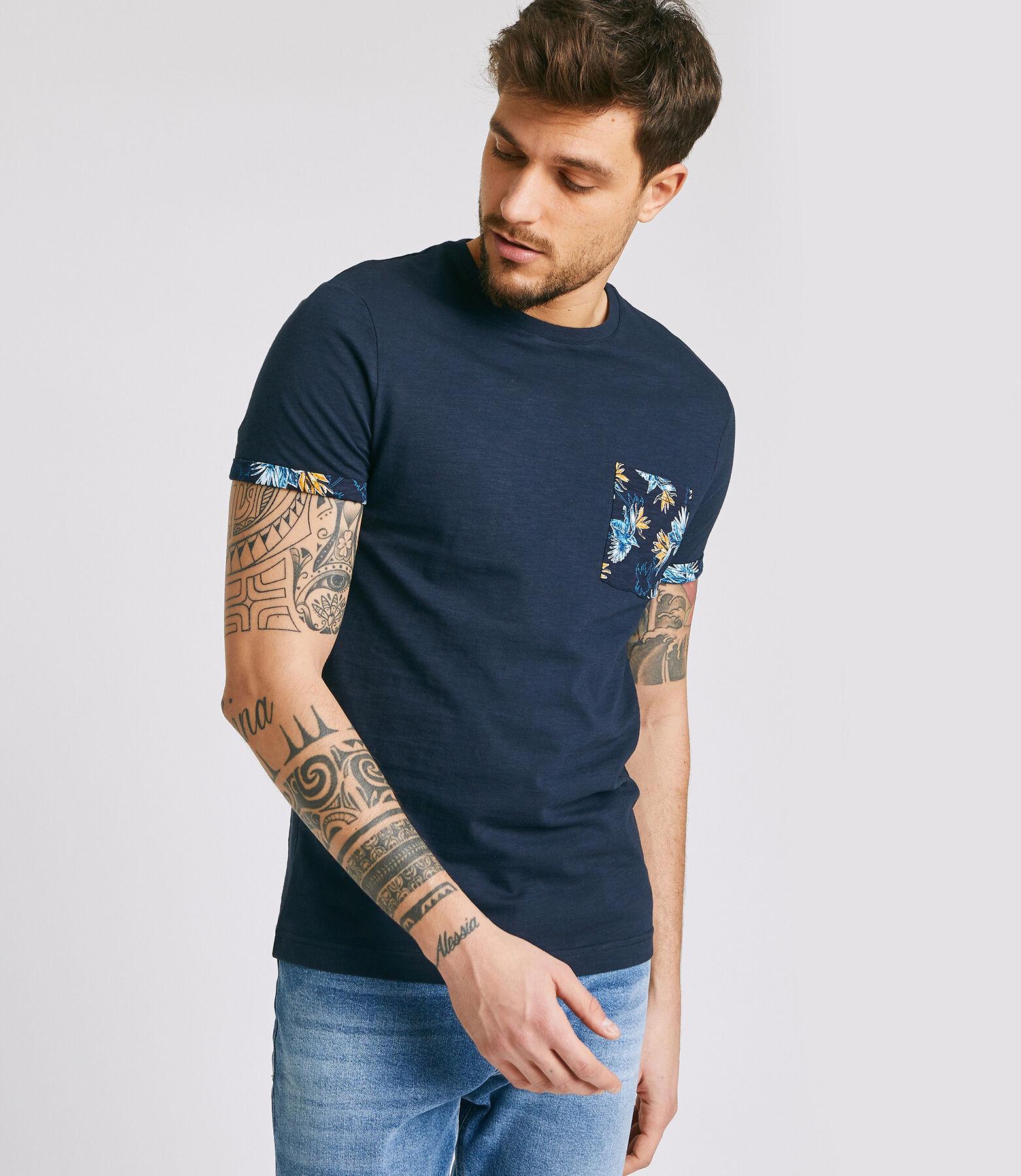 Tee shirt uni manches courtes détail imprimé hibis