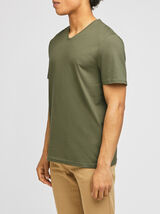 Tee-shirt basique col V coton issu de l'agricultur