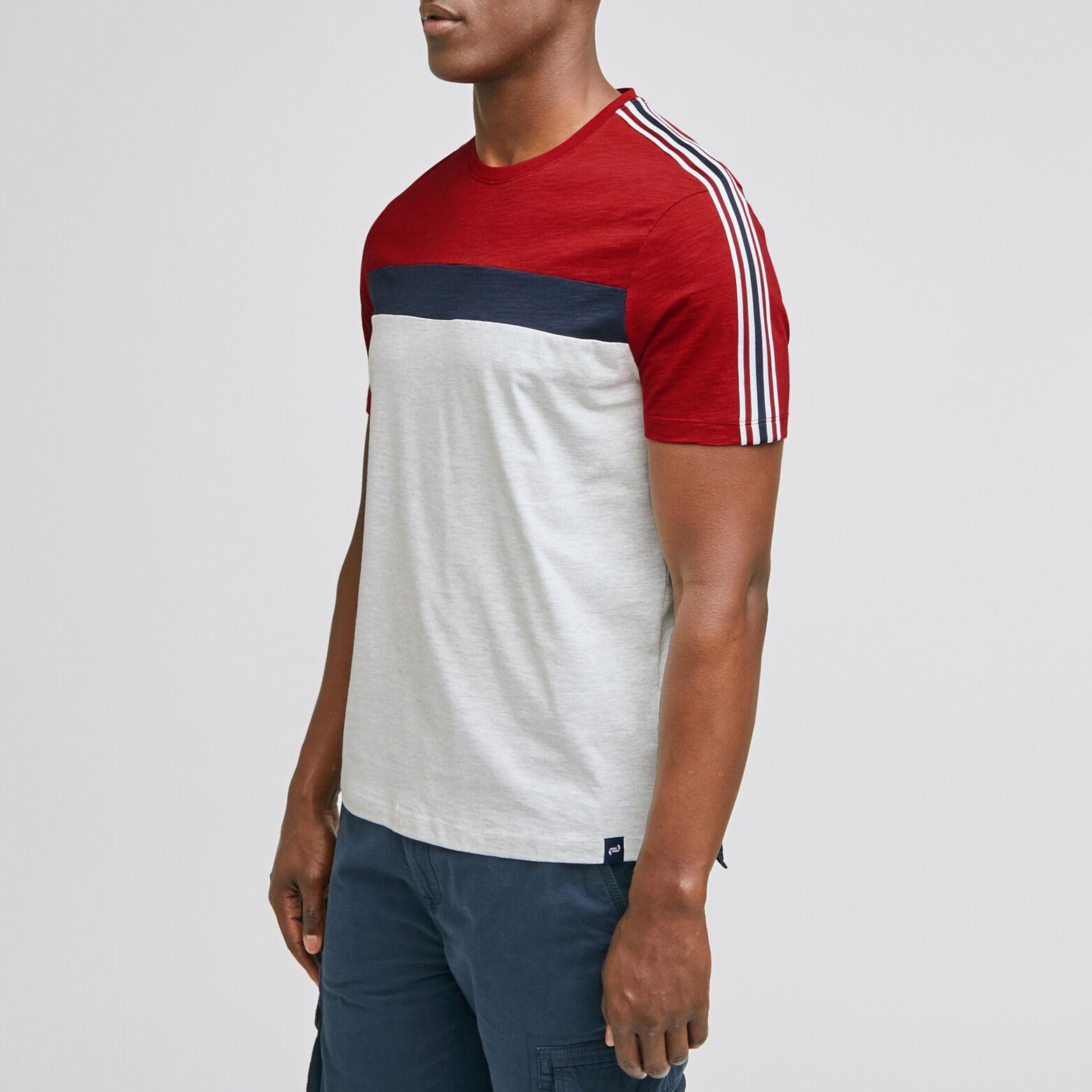 Tee-shirt colorblock bande manche coton issu de l'
