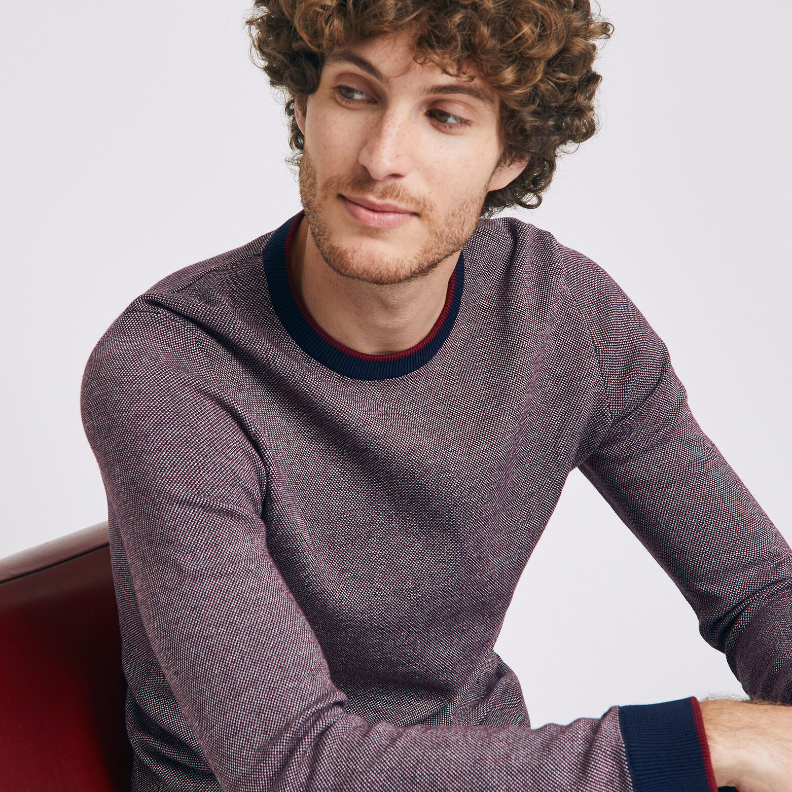 Pull en maille tricolore