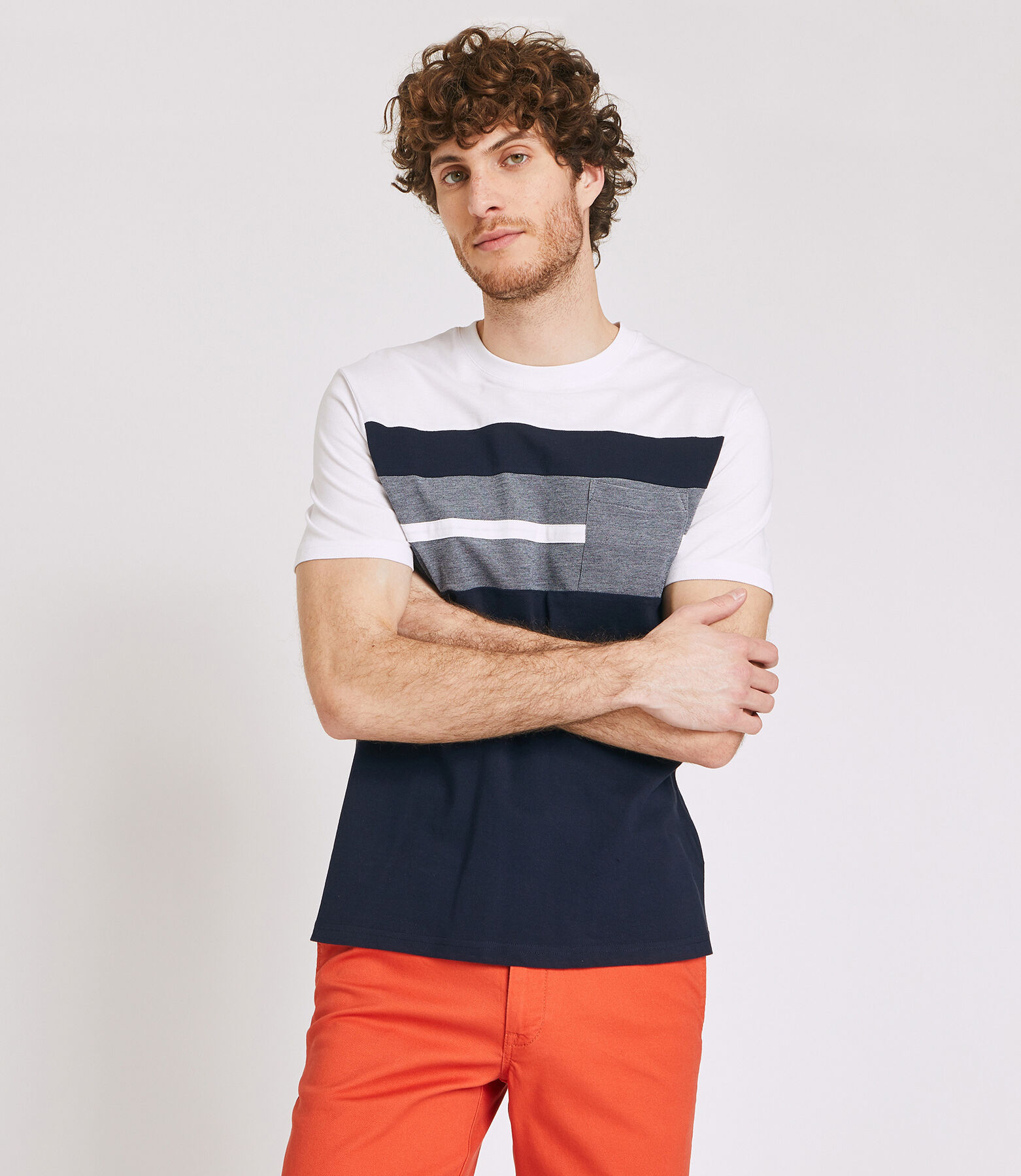 Tee shirt col rond tricolore