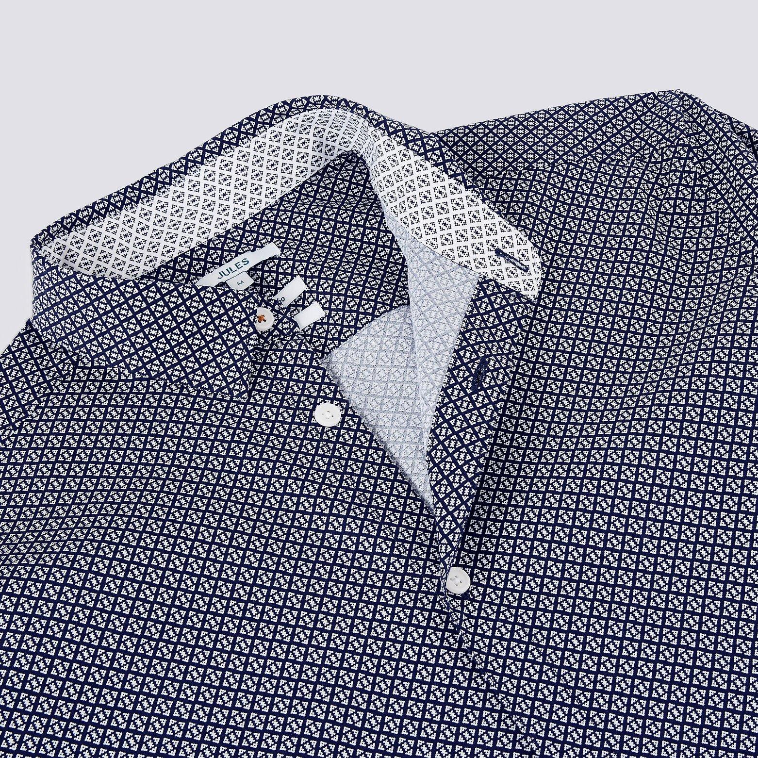 Chemise regular micro motif géométriques coton