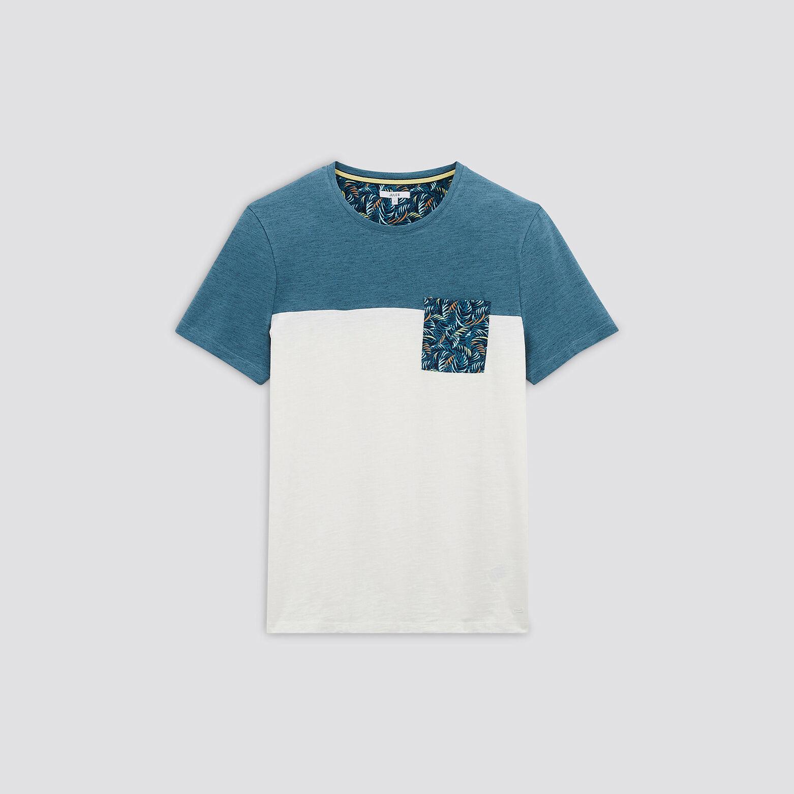 Tee-shirt colorblock poche imprimée coton issu de