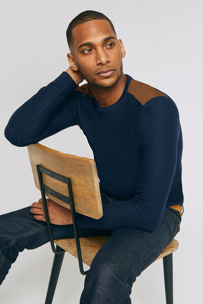 PULL COL ROND PATCH EPAULE