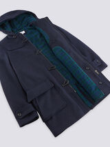 Manteau long en laine style duffle coat - bleu mar