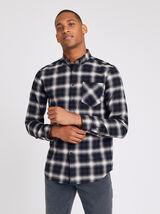Chemise regular à carreaux col pointe boutonnée co