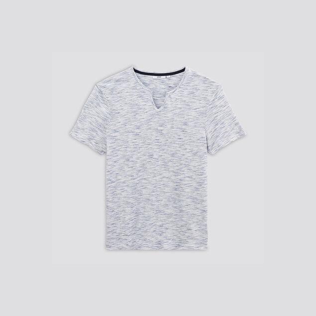 Tee-shirt col tunisien sur matière fantaisie