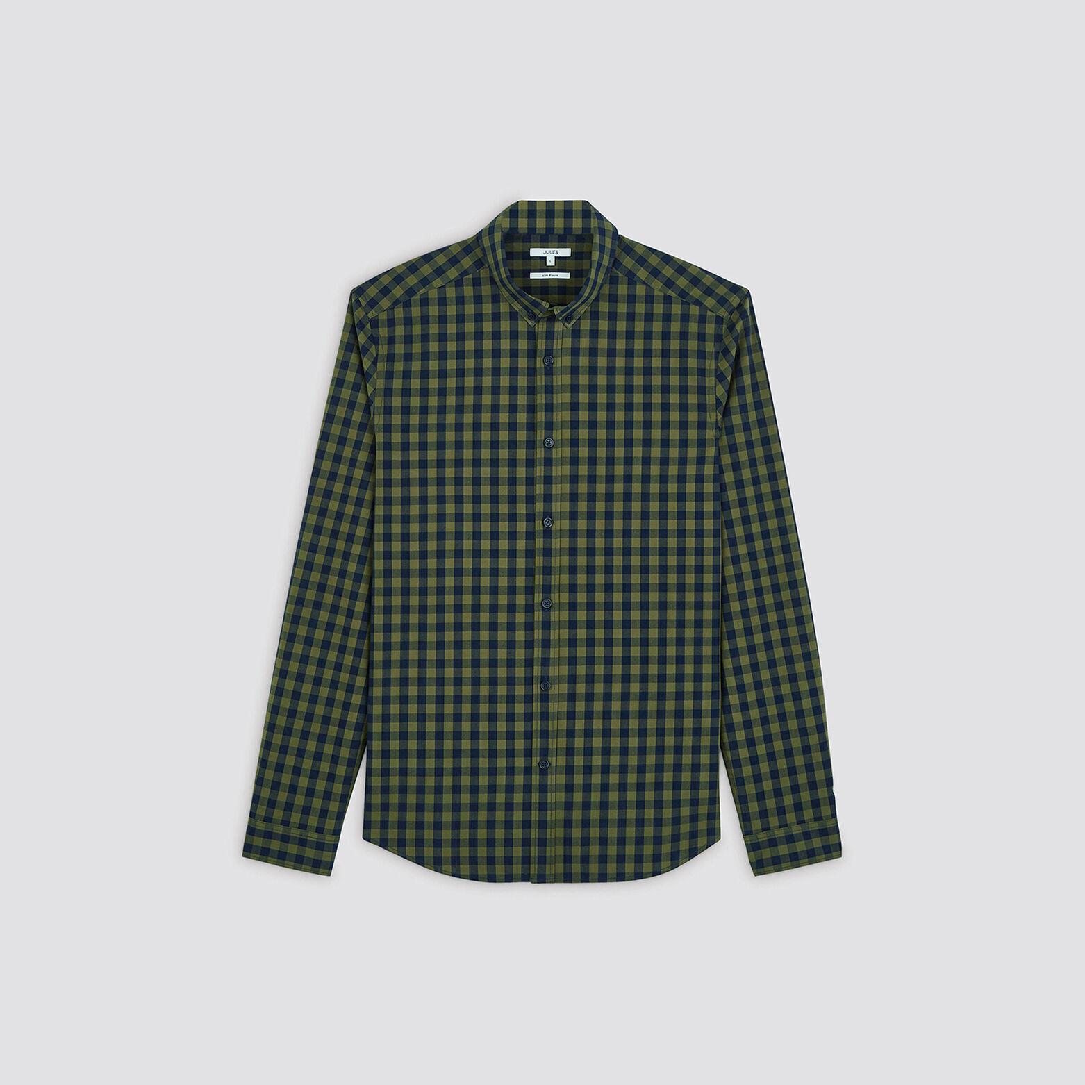 Chemise slim à carreaux coton