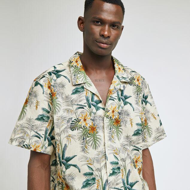 Chemise regular hawaïenne imprimé fleur coton