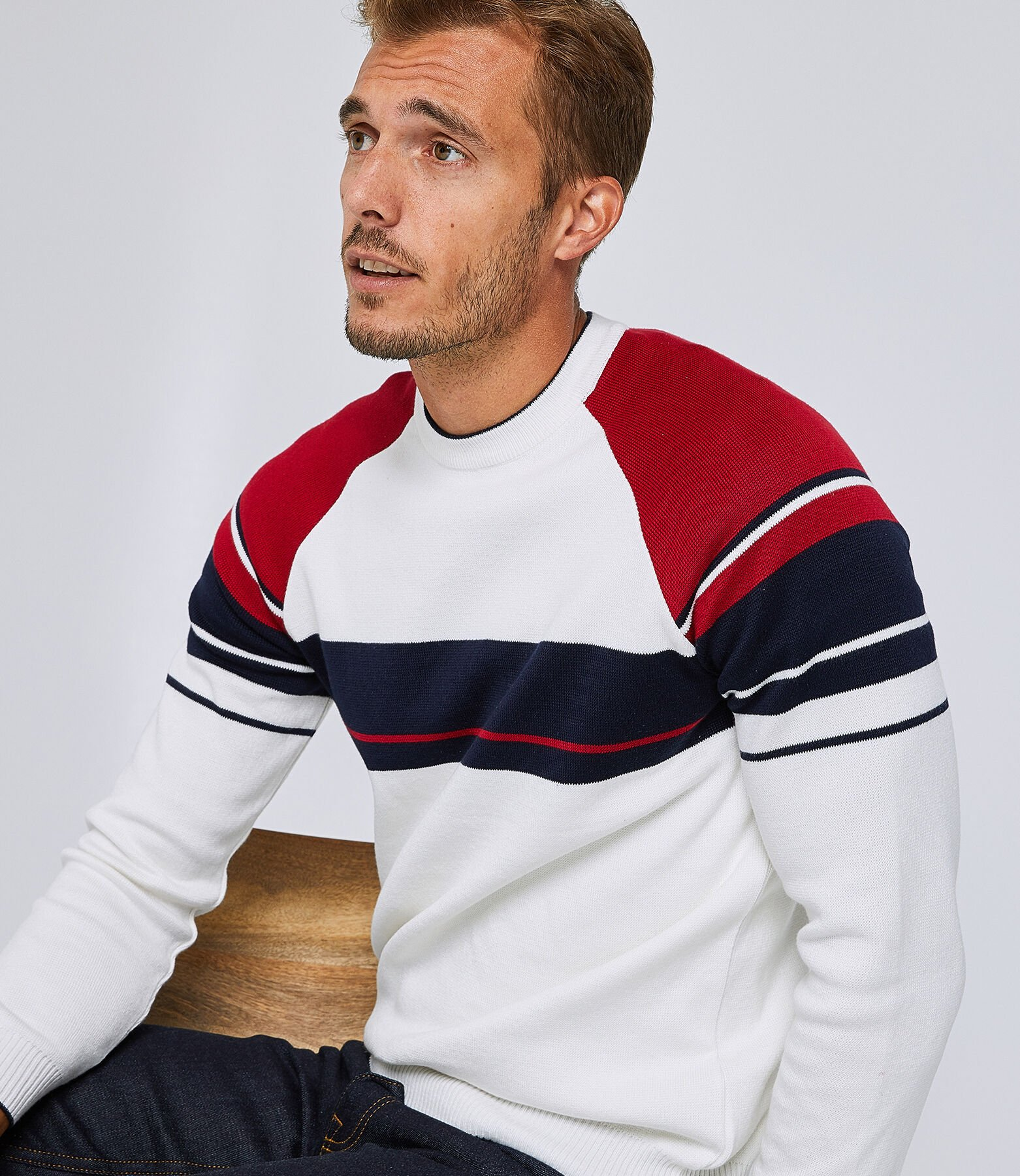 Pull col rond à rayures colorblock