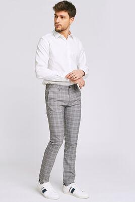 Pantalon chino slim à carreaux chiné
