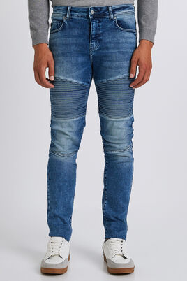 Skinny jeans, biker blauw