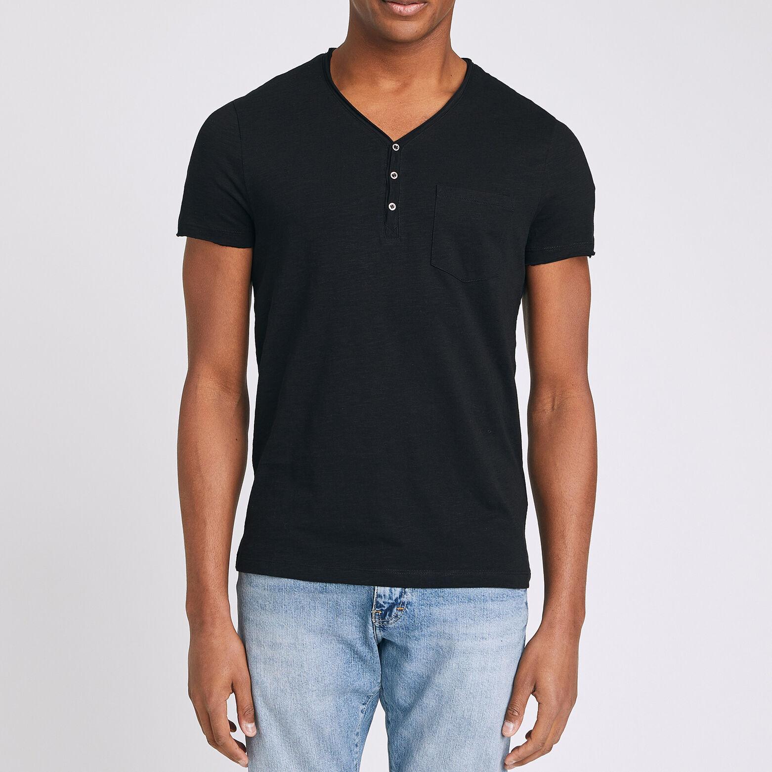 T-shirt col tunisien roulotté