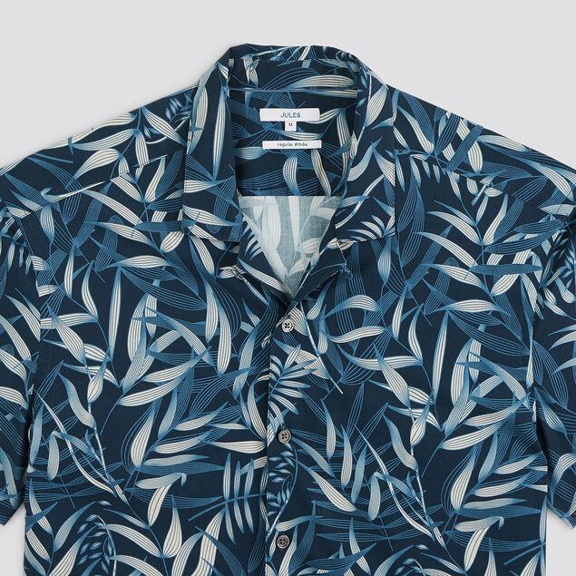 Chemise regular hawaïenne imprimé feuillage coton