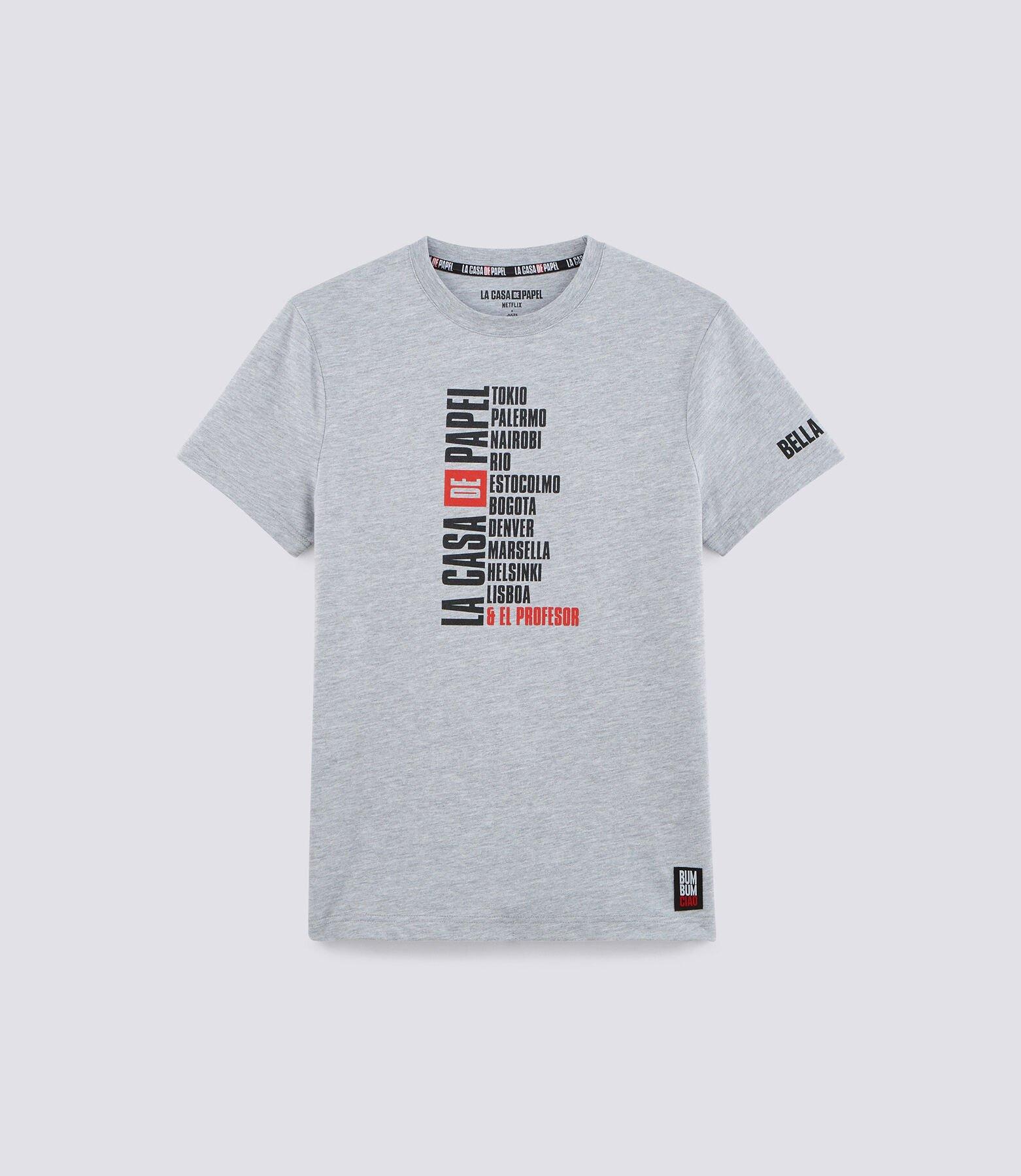 Tshirt gris NETFLIX chiné imprimé noms personnages