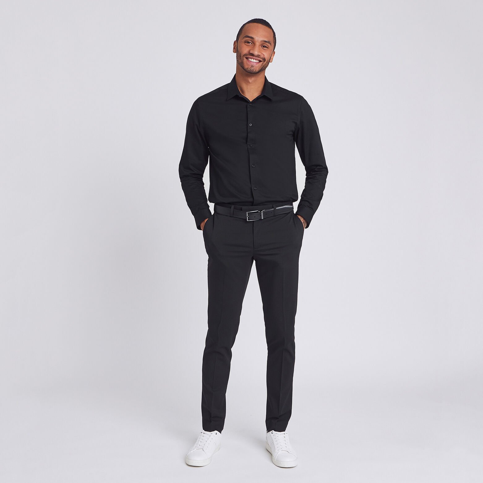 Chemise slim repassage facile Stay black/white cot