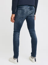 Jean skinny biker - bleu indigo