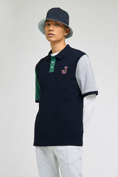 Polo manches courtes tricolore brodé