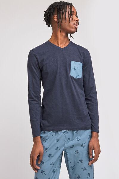 Tee shirt de pyjama  manches longues col V